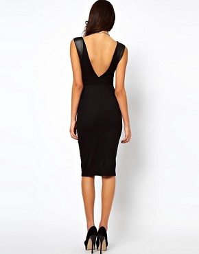 Image 2 of ASOS Bodycon Dress With High Shine Panels