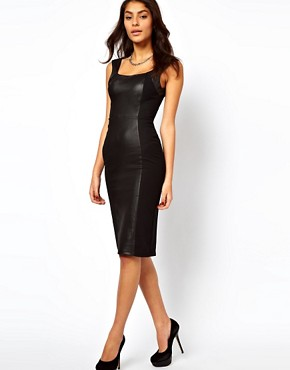 Image 4 of ASOS Bodycon Dress With High Shine Panels