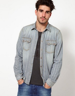 Image 1 ofNudie Shirt Gusten Stripe Denim