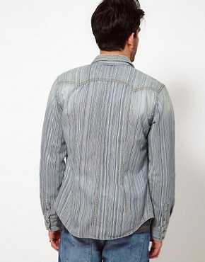 Image 2 ofNudie Shirt Gusten Stripe Denim