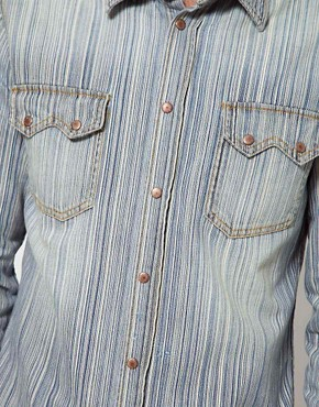 Image 3 ofNudie Shirt Gusten Stripe Denim