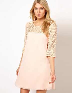 Image 1 ofLove Swing Dress With Lace Detail
