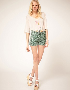 Image 1 ofSee by Chloe Printed Denim Shorts