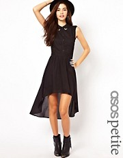 ASOS PETITE Exclusive Shirt Dress With Lace Insert And Dip Hem