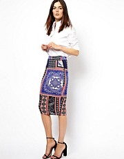 ASOS Pencil Skirt in Scarf Print