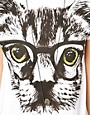 Image 3 of ASOS PETITE Exclusive Nerdy Cat T-Shirt