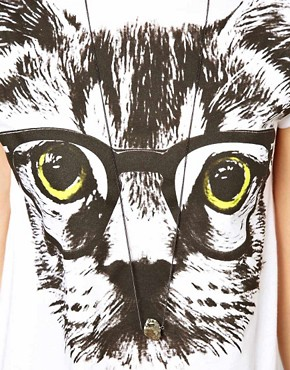 Image 3 ofASOS PETITE Exclusive Nerdy Cat T-Shirt