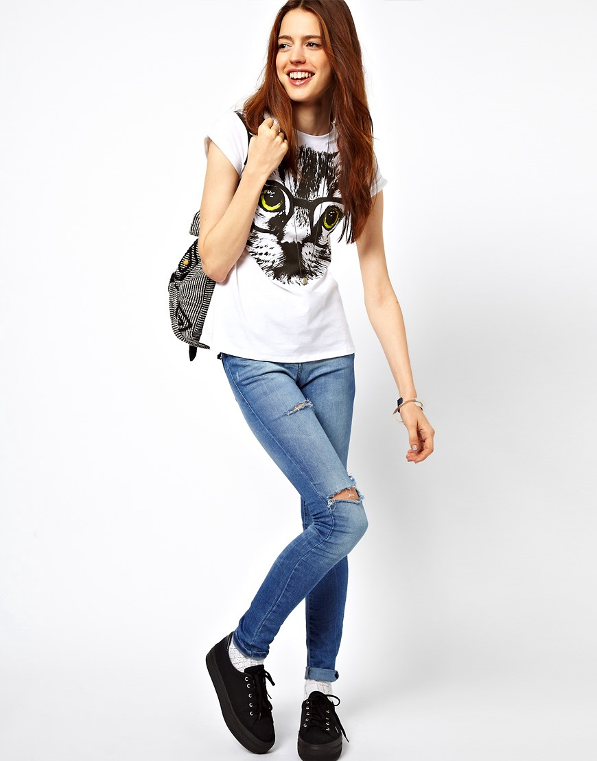 Image 4 of ASOS PETITE Exclusive Nerdy Cat T-Shirt