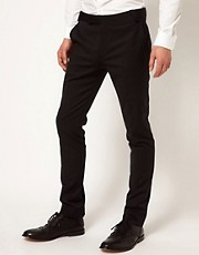 ASOS - Pantaloni da abito skinny fit in poliestere e lana