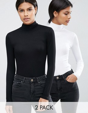 ASOS The Polo Neck Top 2 Pack Save 10%