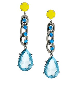 Image 1 ofASOS Curb Chain &amp; Gem Drop Earrings