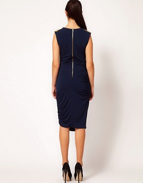 Image 2 ofRiver Island Stud Shoulder Drape Dress