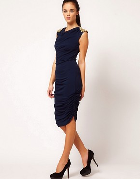 Image 4 ofRiver Island Stud Shoulder Drape Dress