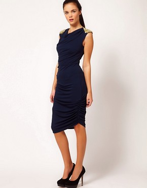 Image 1 ofRiver Island Stud Shoulder Drape Dress