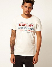 Replay T-Shirt Flock Logo