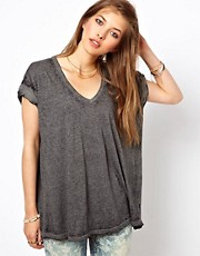 Free People  bergroes T-Shirt in Acid-Waschung