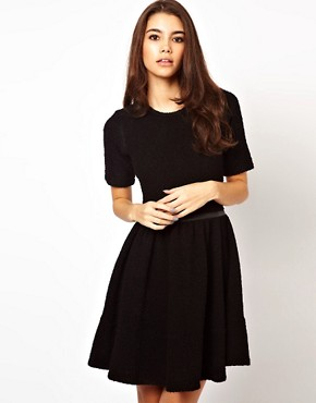 Image 1 ofASOS Knitted Dress With Leather Look Waistband
