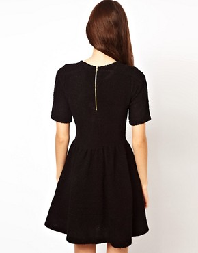 Image 2 ofASOS Knitted Dress With Leather Look Waistband