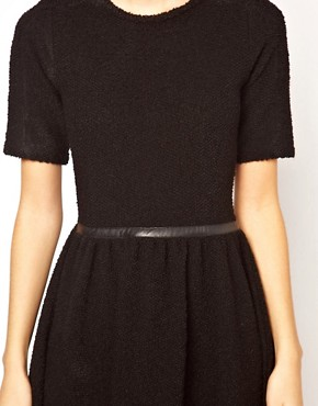 Image 3 ofASOS Knitted Dress With Leather Look Waistband