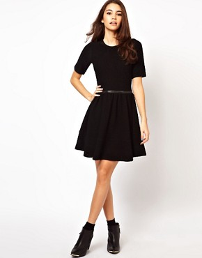 Image 4 ofASOS Knitted Dress With Leather Look Waistband