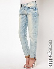 ASOS PETITE Brady Slim Boyfriend Jeans in Bleach Wash