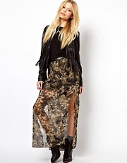 River Island Hi Lo Skirt In Camo Skirt