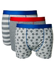 River Island 3 Pack Stars & Stripes Trunks