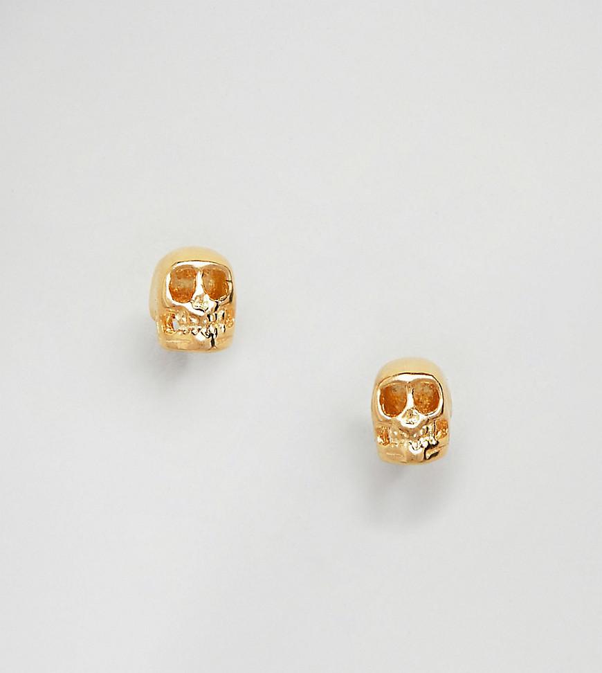 Серьги-гвоздики в форме черепа из позолоченного серебра Reclaimed Vint Reclaimed Vintage