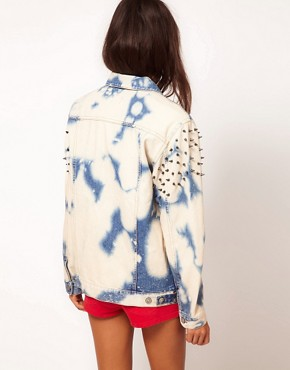 Image 2 of ASOS Studded Oversize Denim Jacket in Random Bleach Wash