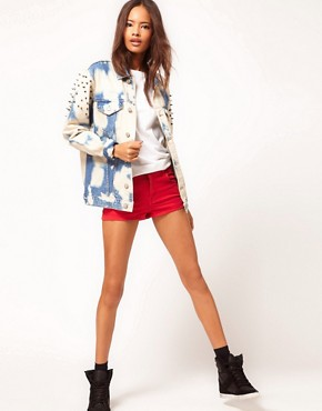 Image 4 of ASOS Studded Oversize Denim Jacket in Random Bleach Wash