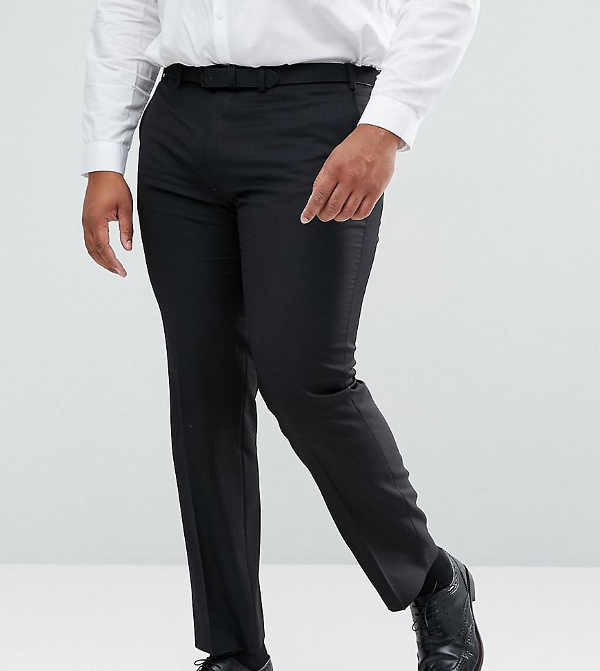 Черные узкие брюки из 100% шерсти ASOS PLUS - Черный ASOS DESIGN
