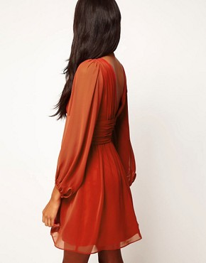 Image 2 ofASOS Skater Dress With Blouson Sleeves