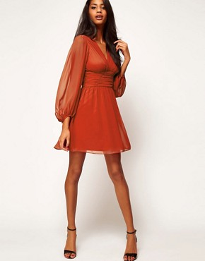 Image 4 ofASOS Skater Dress With Blouson Sleeves