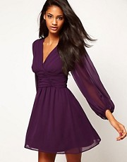 ASOS Skater Dress With Blouson Sleeves