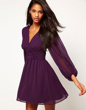 Image 1 ofASOS Skater Dress With Blouson Sleeves