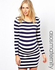 ASOS Maternity Exclusive Stretch T-Shirt Dress In Stripe