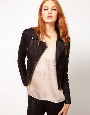 Image 1 ofWarehouse Leather Look Biker Jacket