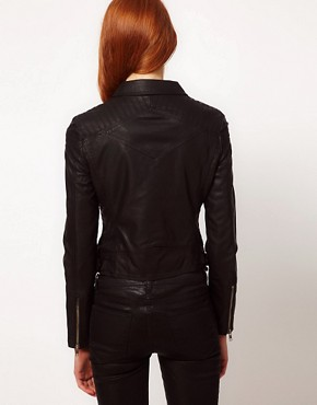Image 2 ofWarehouse Leather Look Biker Jacket