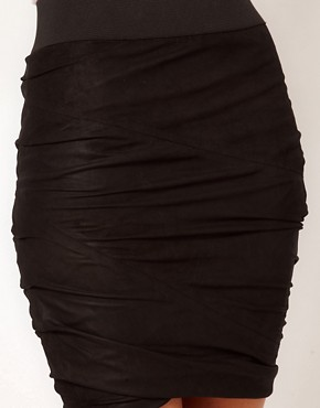 Image 3 ofMuubaa Leather Catania Drape Skirt