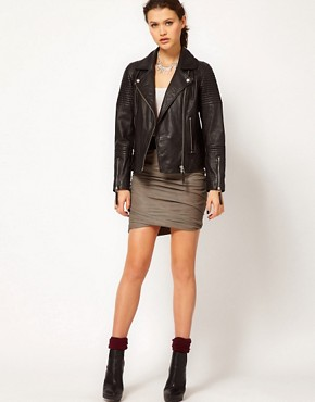 Image 1 ofMuubaa Leather Catania Drape Skirt