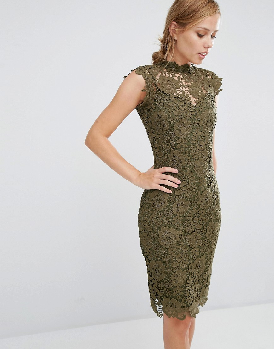 Paper Dolls Allover High Neck Lace Dress - Khaki