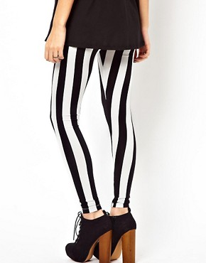 Image 2 ofASOS Leggings In Mono Stripe Print
