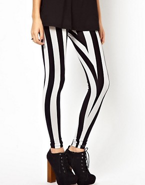 Image 4 ofASOS Leggings In Mono Stripe Print