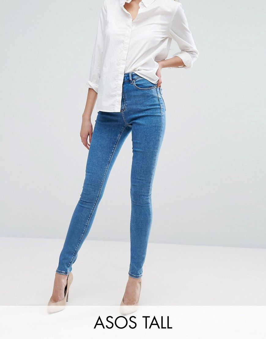 ASOS TALL RIDLEY High Waist Skinny Jeans in Lily Wash - Lily mid wash