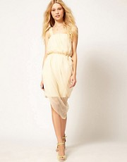 Traffic People Silk Dress With Rose Straps