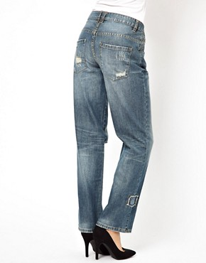 Image 2 ofASOS Saxby Boyfriend Jeans in Vintage Rip and Repair
