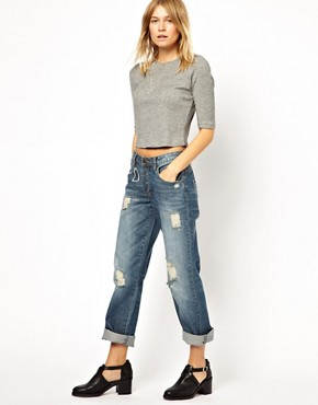 Image 4 ofASOS Saxby Boyfriend Jeans in Vintage Rip and Repair