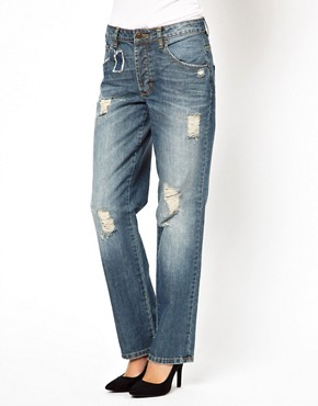 Image 1 ofASOS Saxby Boyfriend Jeans in Vintage Rip and Repair