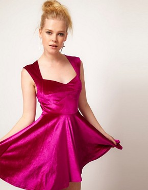 Image 1 ofMinkpink &#39;Stolen Moment&#39; Velvet Skater Dress