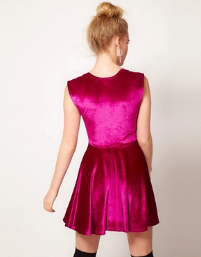 Image 2 ofMinkpink &#39;Stolen Moment&#39; Velvet Skater Dress